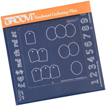 Groovi Baby Plate A6 - Numbers Groovi Inset & Ovals & Tags