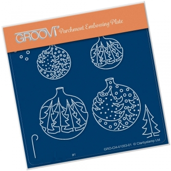 Christmas Tree Baubles A6 Square Groovi Plate