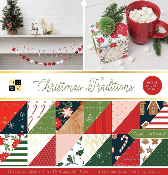 American Crafts DCWV 30,5x30,5cm x32 christmas traditions