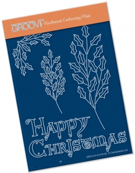 Holly Branch with Happy Christmas A6 Groovi Plate