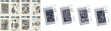 8er Set XXL - Stempel und Stencil - Doodleology Paisley + Rectangles + Petals + Retro Circles - Mixed Impressions Unmounted Clear Stamp Set