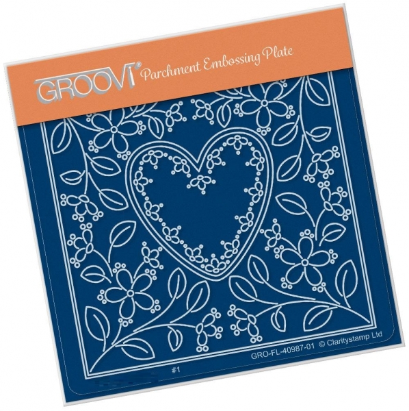 Tina's Heart Flower Parchlet A6 Square Groovi Plate