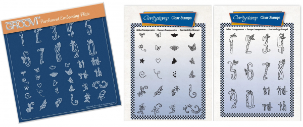3er Set Happy Numbers & Embellishments Groovi + Stempel Sets