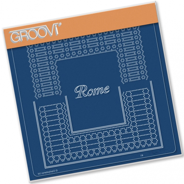 Italian Cities Diagonal Lace Grid Duets - Rome A5 Square Groovi Plate