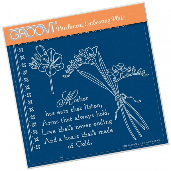 Freesias & Mother Verse A5 Square Groovi Plate