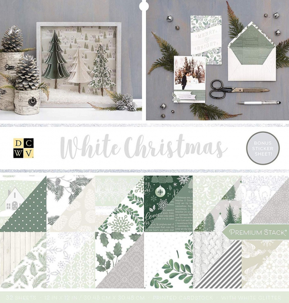 American Crafts DCWV 30,5x30,5cm x32 white christmas