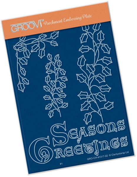 Ivy Branch with Seasons Greetings A6 Groovi Plate