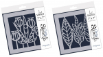 "2er Set Funky Leaves & Trees + Funky Foliage 7"" x 7"" Stencil"
