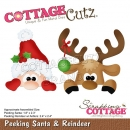 Scrapping Cottage Peeking Santa & Reindeer
