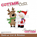 Scrapping Cottage Santa with List & Reindeer