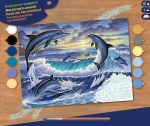 Sequin Art • Senior painting by numbers dolphin sunrise